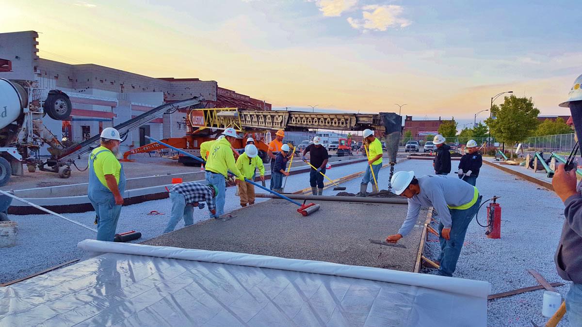 pervious concrete pour with belt truck at Danville Mass Transit