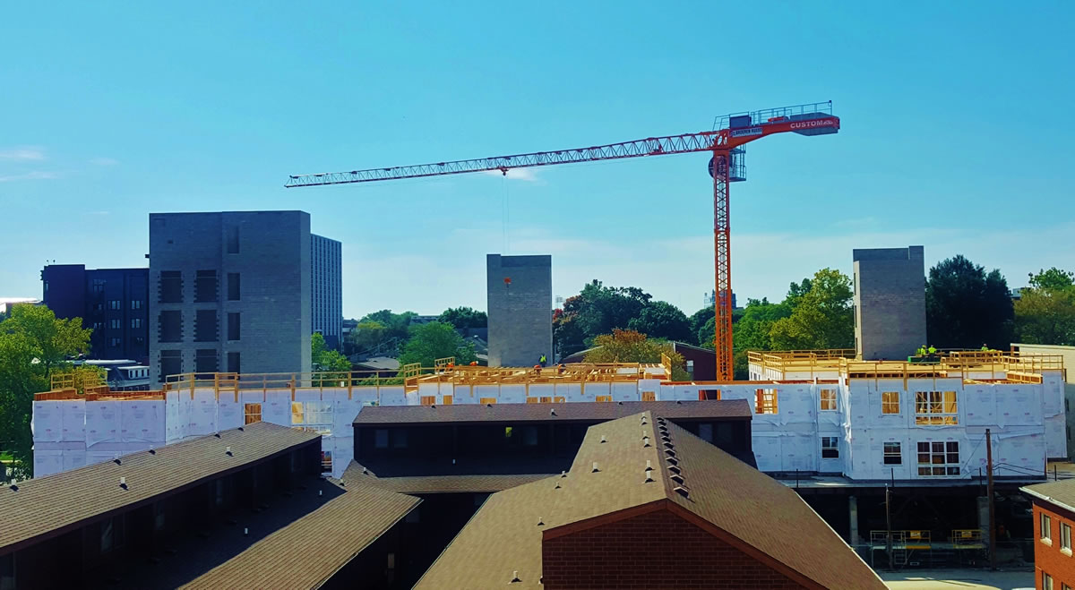 Tower Crane at The Suites at Third Champaign