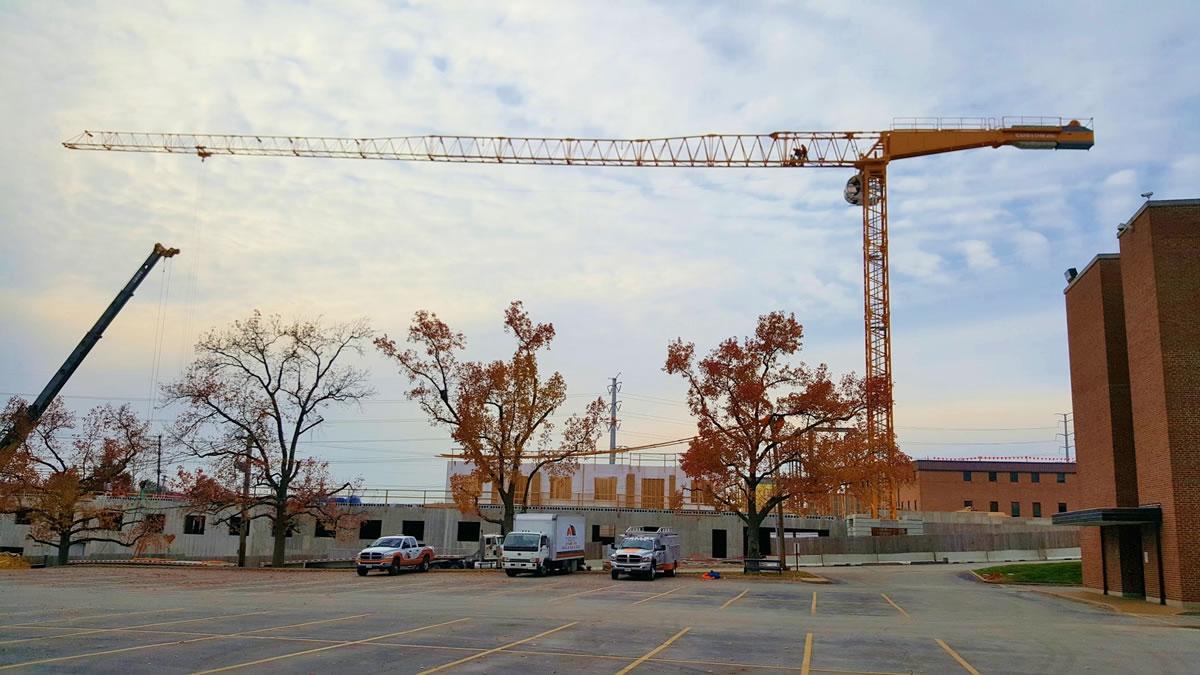 tower crane, 175 ton crane, and CSC vehicles