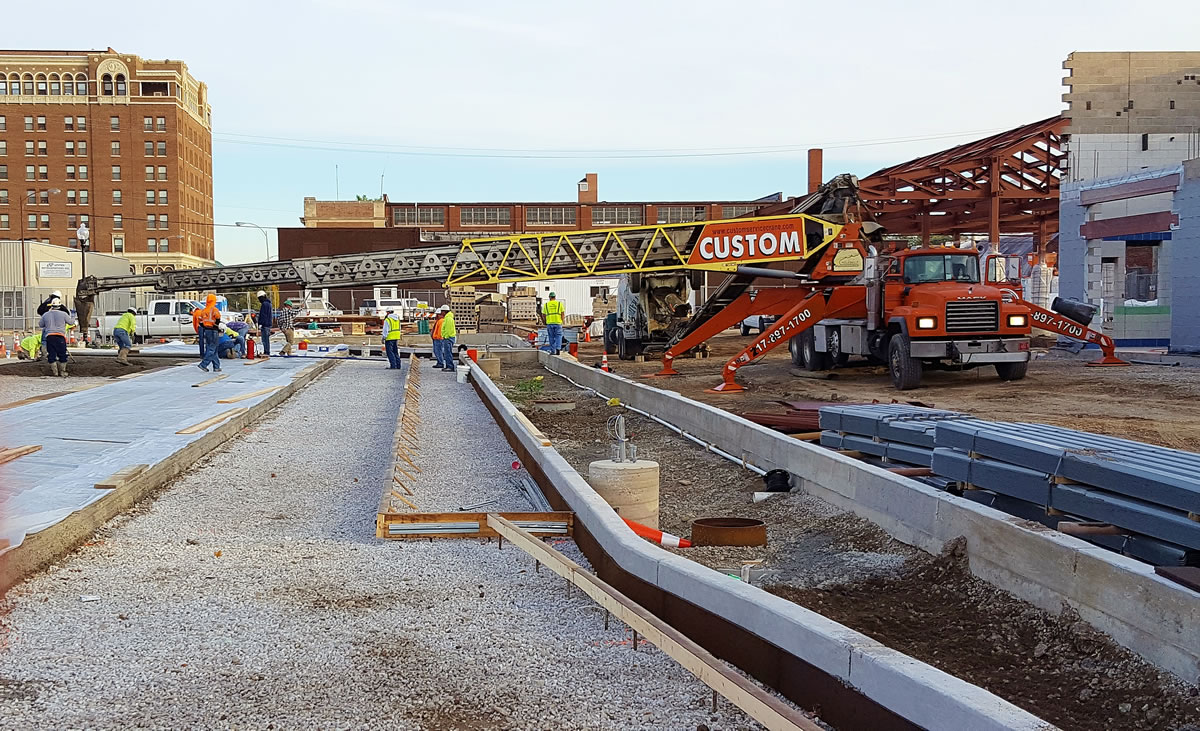 belt truck conveying pervious concrete at Danville Mass Transit building