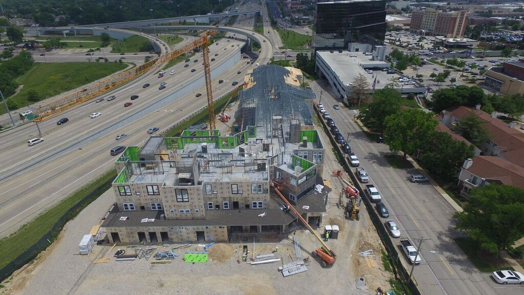aerial view of tower crane in St. Louis