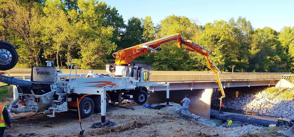31 meter pumping concrete for a bridge.
