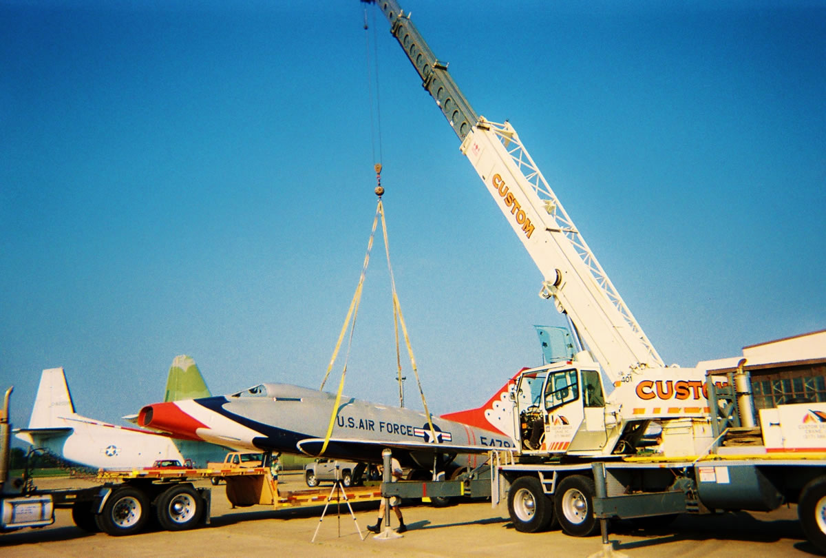 40 ton crane assists with moving a decommissioned Air Force jet to a Bloomington, IL museum.