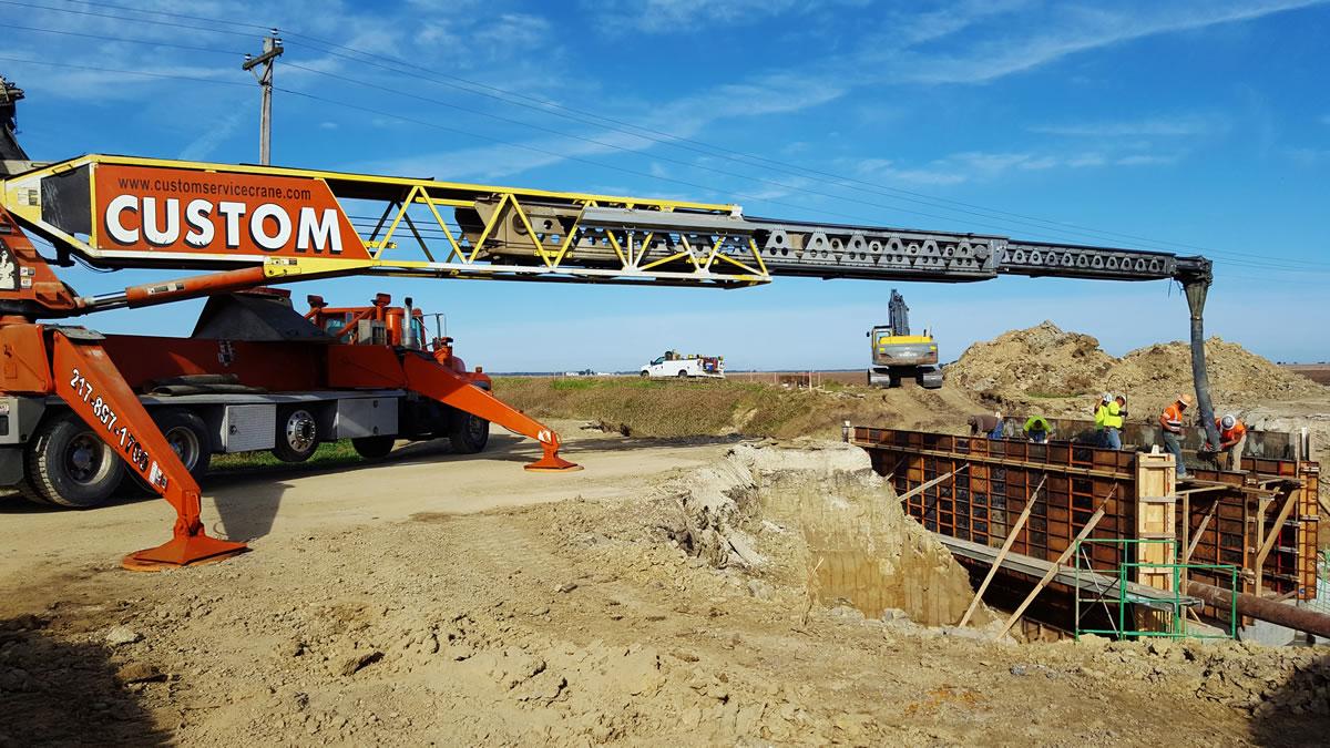Putzmeister belt truck helps construct a new bridge for Iroquois county.