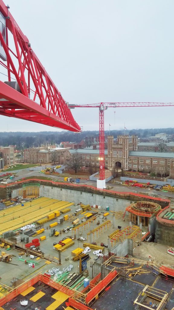View from the top! Tower Crane 1 at the Wash U site shows deflection as it picks 10,000 lbs.