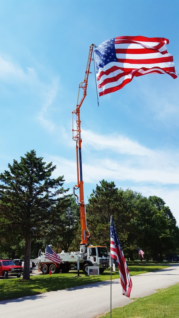 31 meter hoisting our nations flag for Veterans Day in Mahomet, IL.
