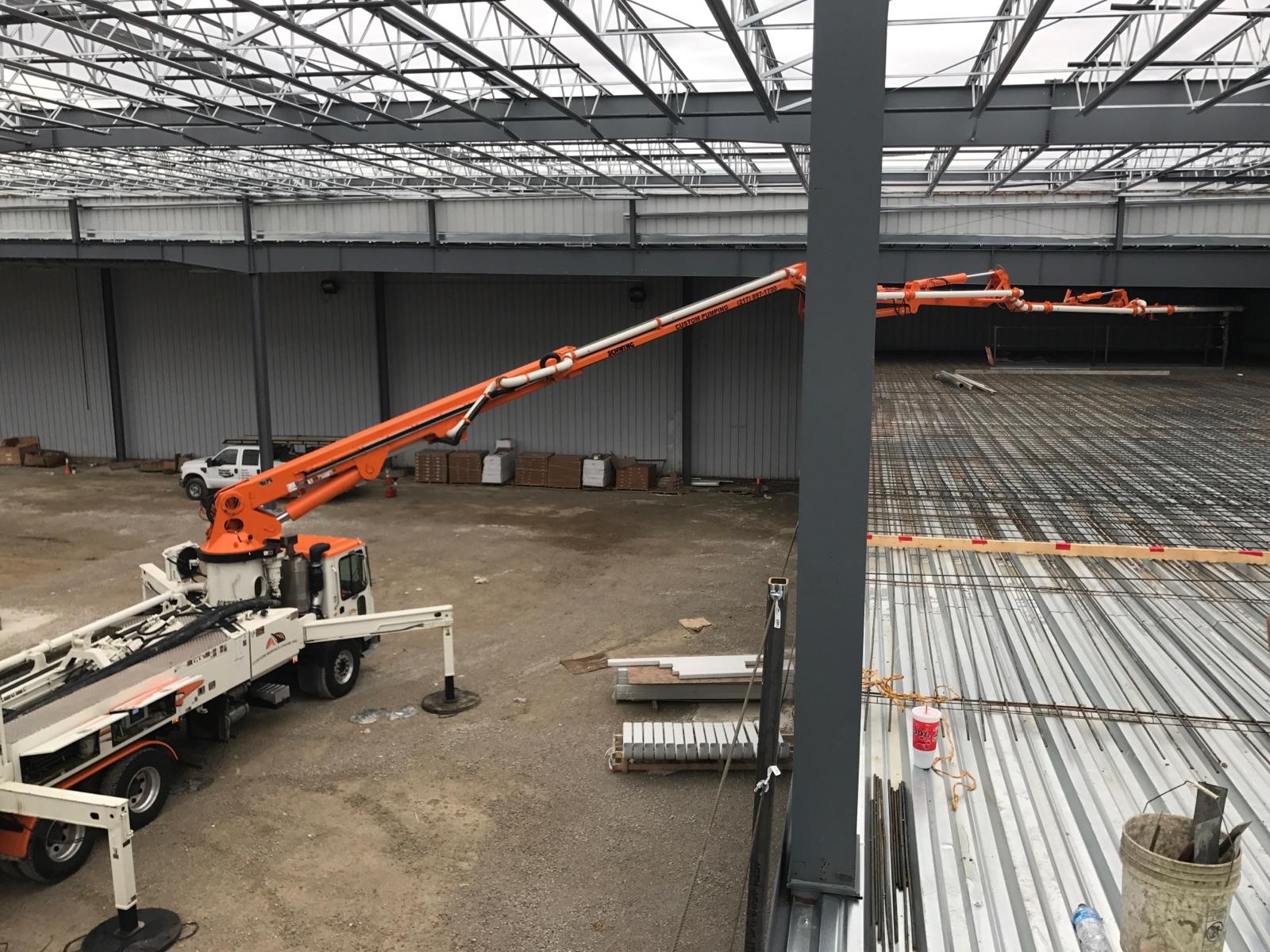 31 meter Z-boom metal deck pour in Danville, IL.
