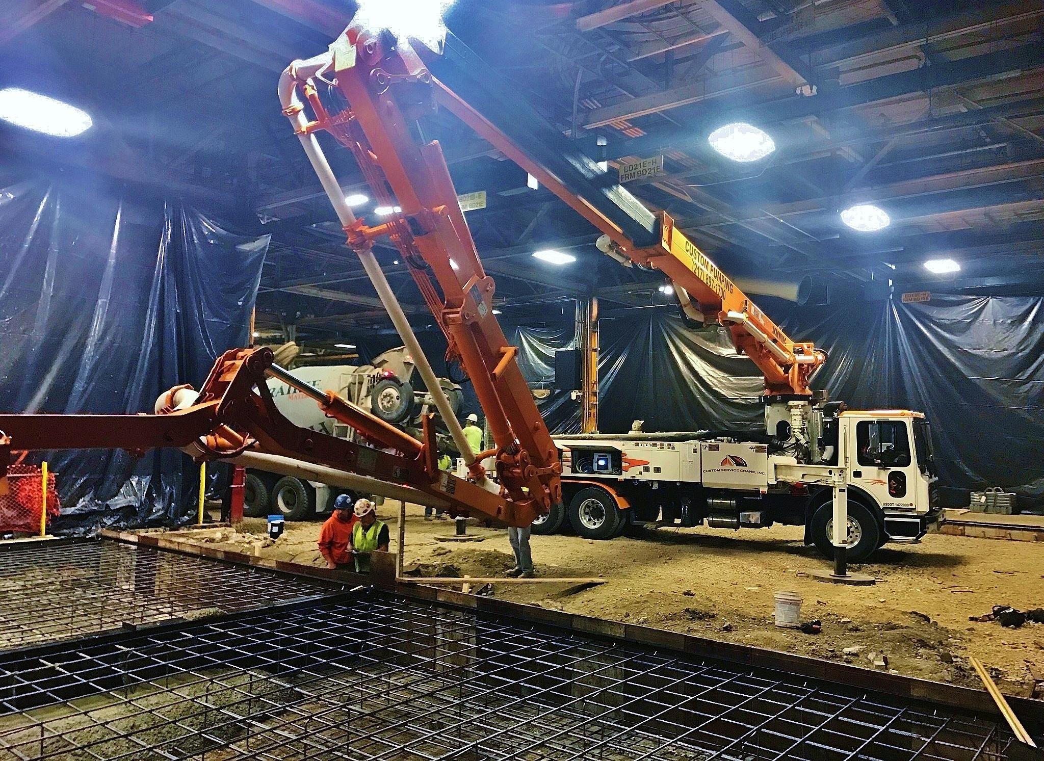 31 meter Z-boom pump truck manuevers well.